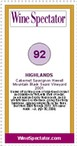 2001 Highlands Cabernet Sauvignon Howell Mountain Black Sears Vineyard Wine Spectator's 92 points