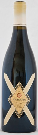 <center>2002 Highlands Syrah<br>Rutherford Hozhoni Vineyard</center>
